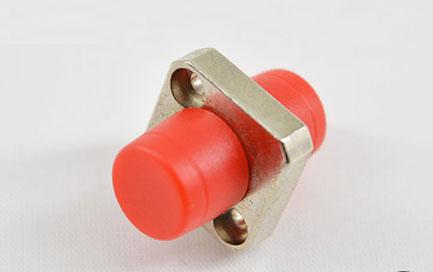 标准 FC/UPC单工方形一体锌合金红帽光纤适配器